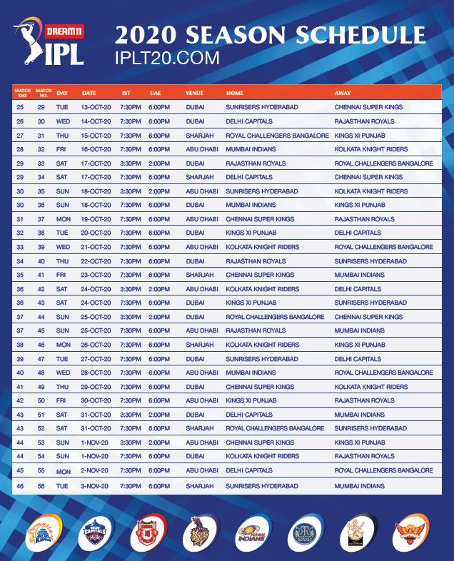IPL 2020 Date Sheet
